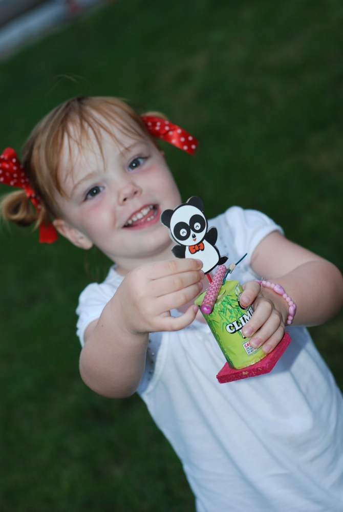 Maddie with her panda firework - this was my favorite when I was little so of course I buy it for her every year.