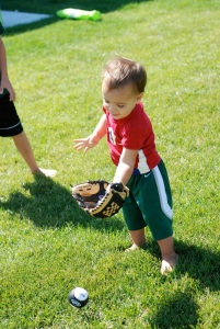 Daddy was so proud of his little baseball player