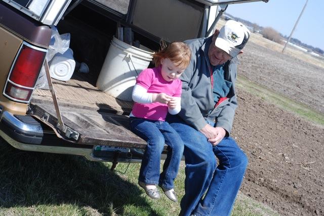 """Grandpa and Maddie """"chatting"""""""