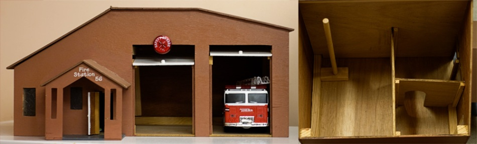 My dad built this toy firehouse for Kobe.  He modeled it after one that we used to drive by every morning.
